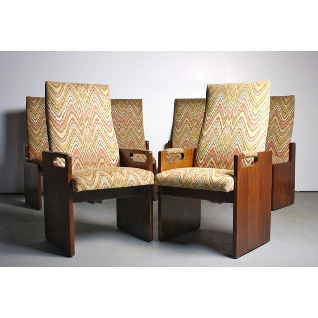Lane Brutalist Walnut Dining Chairs - Set of 6 - Image 4 of 6