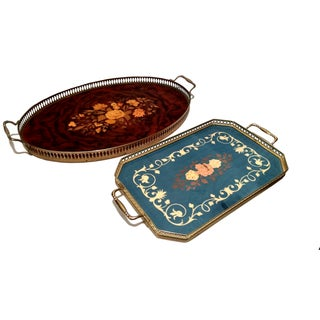 Vintage Italian Sorrento Inlaid Wood Trays - 2