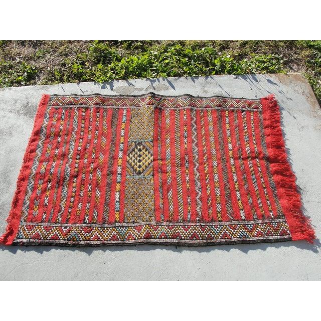 "Red Moroccan Tribal Kilim Rug - 2'7"" X 4'"