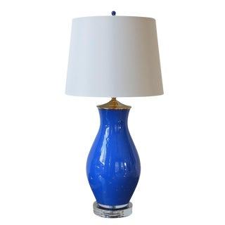 Royal Blue & Gold Flecks Lamp With Shade