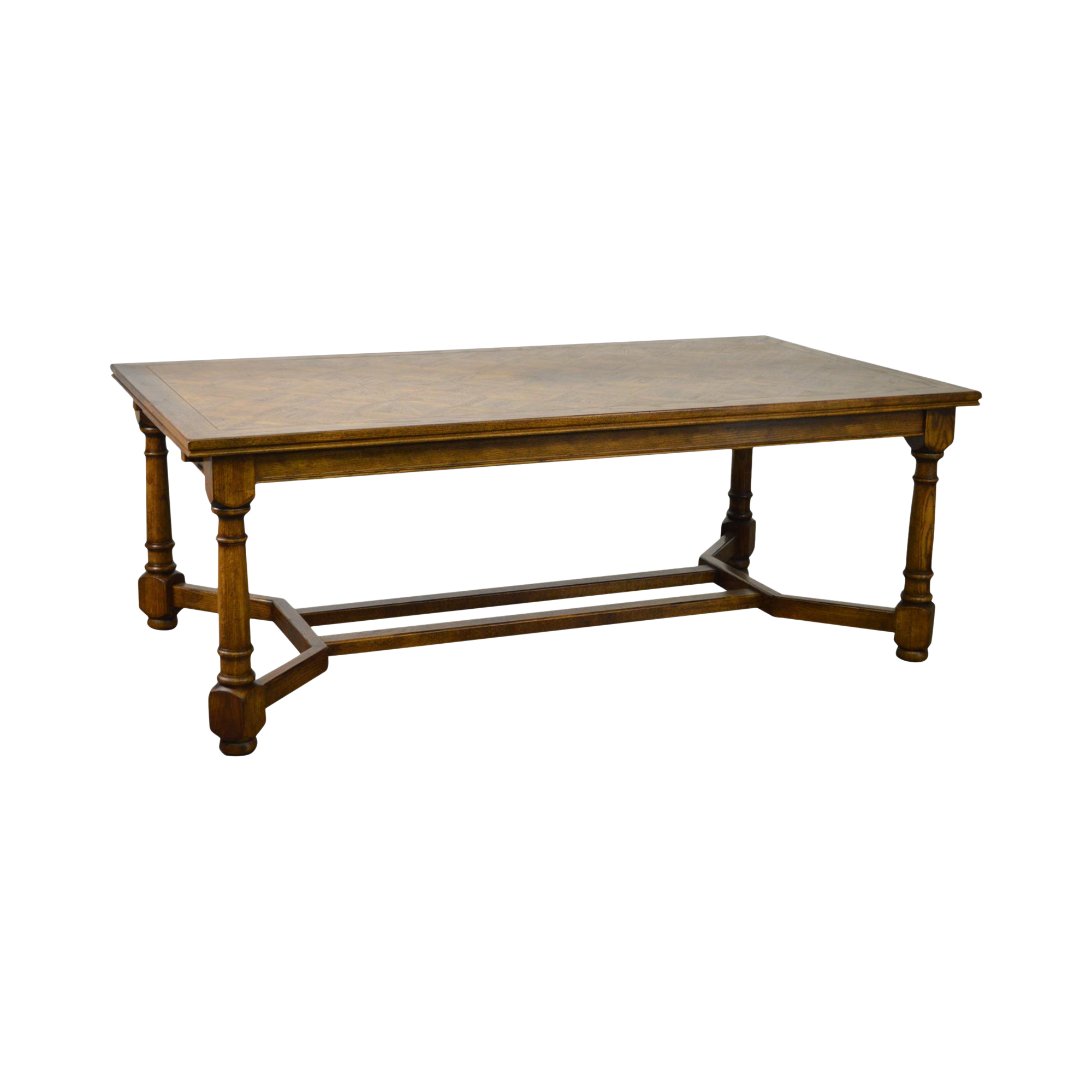 French Country Large 11u0027 Oak Parquet Top Expanding Dining Table