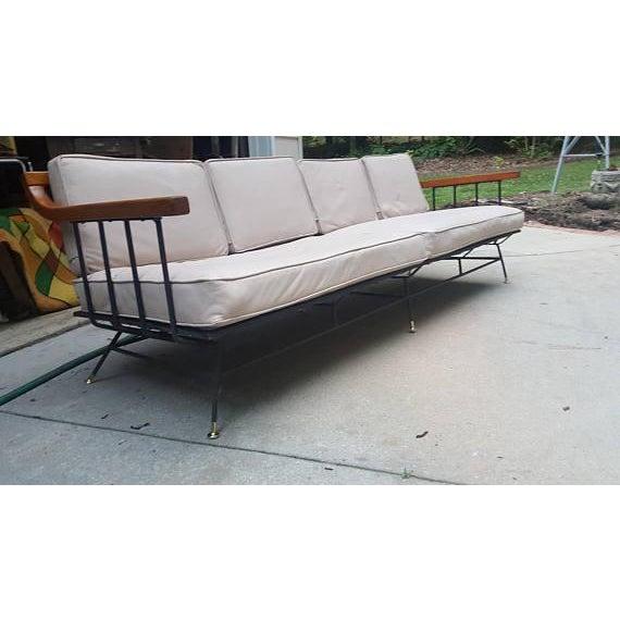 Mid-Century Modern Selrite Iron Wood Frame Long Sofa