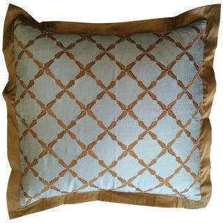 Gold & Blue Silk Pillow Cover