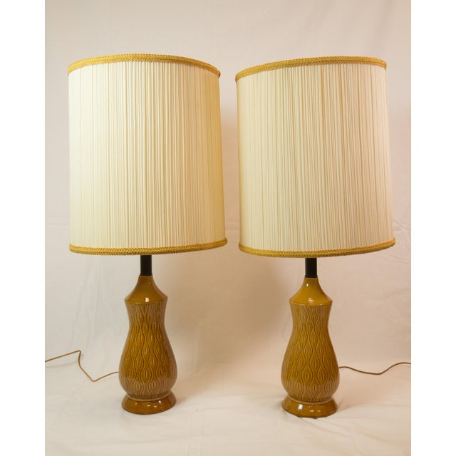 Image of Mid-Century Modern Barrel Shade Ceramic Table Lamps- A Pair