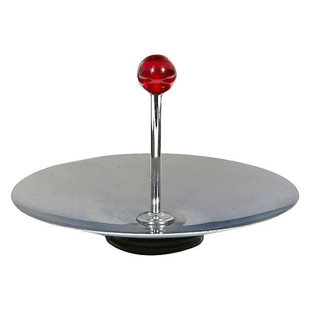 Round Chrome Art Deco Server - Image 1 of 3
