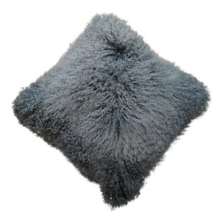 Gray Mongolian Lamb Pillow