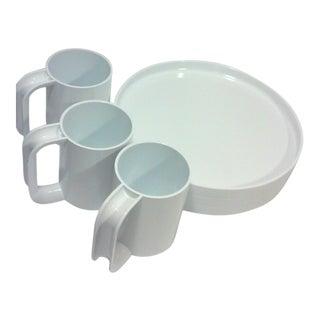 1970's Massimo Vignelli White Melamine Dishes-Set of Six