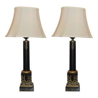 Antique Ebonized & Gilt Tole Decorated Empire Lamps - A Pair
