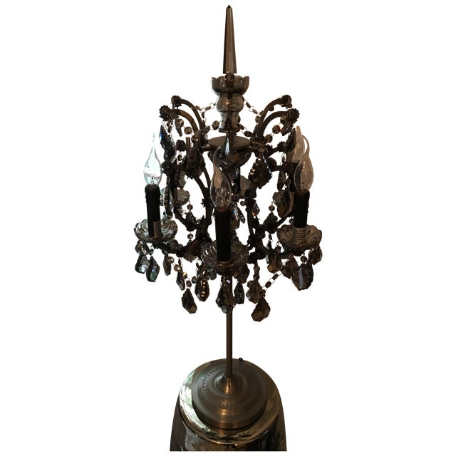 19th c rococo iron smoke crystal table lamp chairish. Black Bedroom Furniture Sets. Home Design Ideas