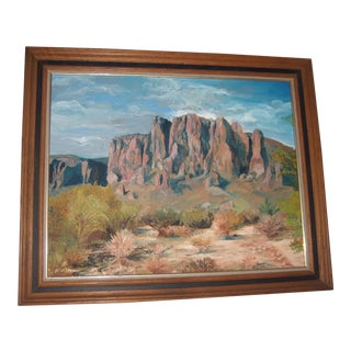 Arizona Superstition Mountains Painting by Teddy Hulett