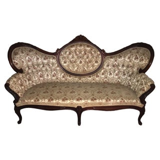Antique Tufted Velvet Victorian Settee
