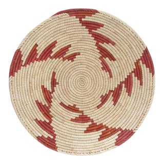 Native American Style Red Step Swirl Basket