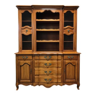 French Country Style Cherry China Cabinet Hutch by Fancher