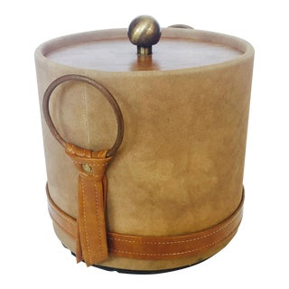 Mid Century Faux Suede and Leather Ice Bucket