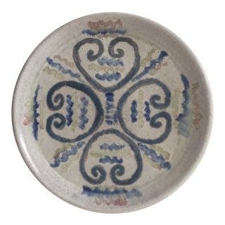 Mid-Century Modern Artisan Signed Haiti Stoneware Ceramic Serving Plate