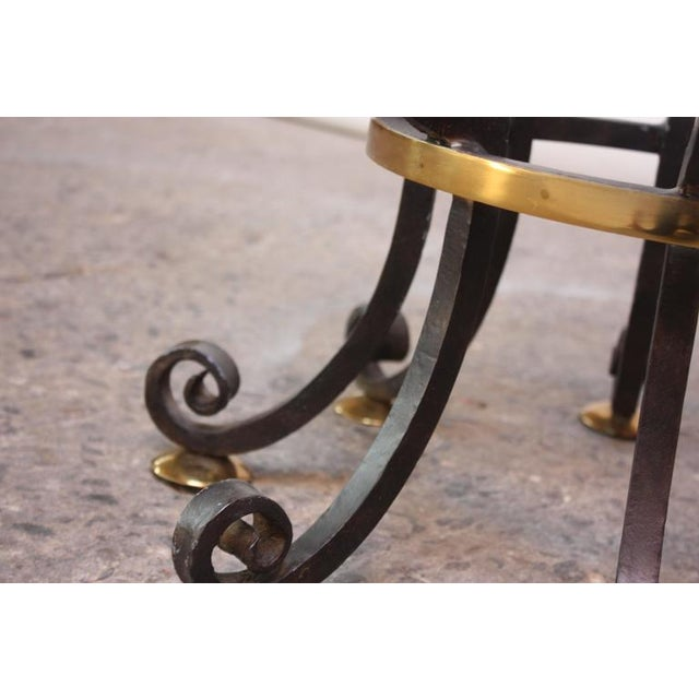 Hollywood Regency Style Brass and Steel Center Table after Maitland-Smith - Image 8 of 9