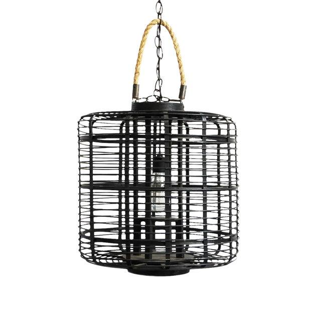 Black Bamboo & Rope Lantern - Image 1 of 2