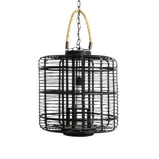 Black Bamboo & Rope Lantern