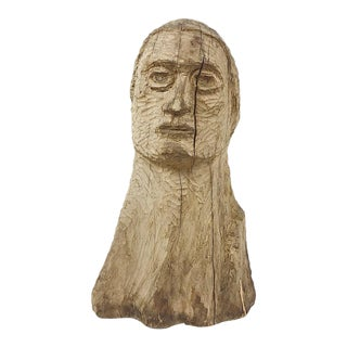 Vintage Wood Carved Male Bust