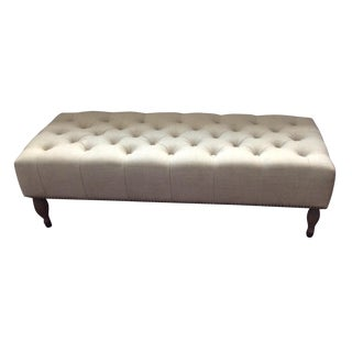 Restoration Hardware Linen Tufted Bench