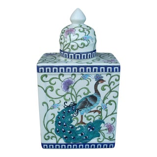 Peacock Chinoiserie Urn