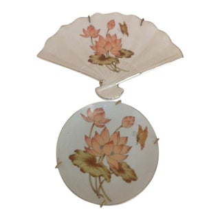 Vintage Fine China Lotus Fan- Shaped Trinket Dish & Collectible Plate - A Pair