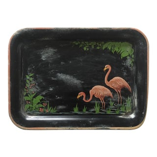 Vintage 1940's Hand Painted Flamingos Black Tin Metal Serving Tray