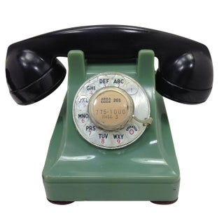 Green & Black WE 302 Rotary Dial Telephone