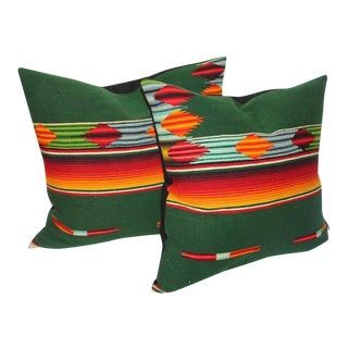 Pair of Mexican Handwoven Serape Pillows