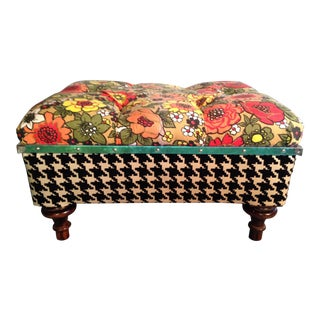Vintage Floral Fabric Ottoman