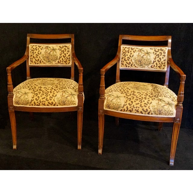 Image of Leopard Upholstered Open Arm Chairs - A Pair
