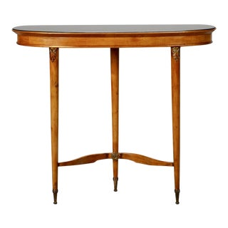 Three-Legged Art Deco Console with Brass Fittings and Black Glass Top