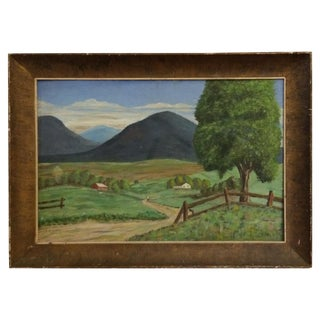 Mid-Century Country Farm Landscape Painting