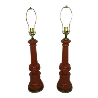 Reverse Painted Glass Baluster Lamps - A Pair
