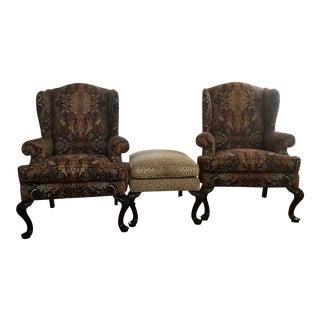 Henredon Wingback Chairs & Ottoman - Set of 3
