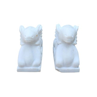 Chinese Vintage Look Dirt White Crouching Ram Stone Statues - a Pair