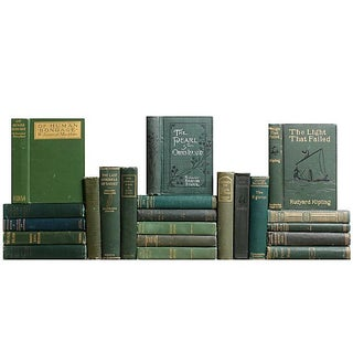 Green Distressed Classic Books - S/22