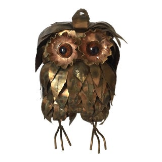 Mid-Century Copper Owl Sculpture