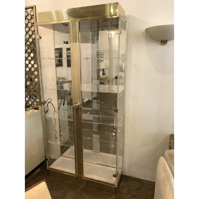 Image of Tall Lucite, Mirror and Gold Tone Metal Cabinet with Upper and Lower Lighting