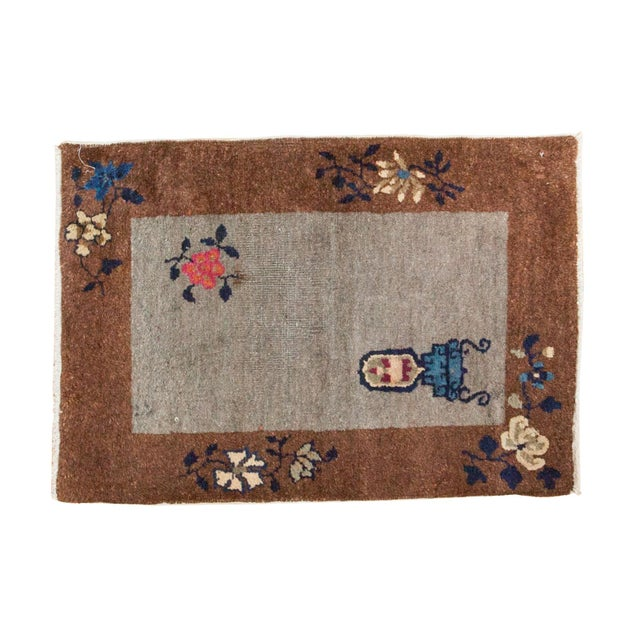 """Antique Art Deco Chinese Rug Mat - 2' X 2'11"""" - Image 1 of 7"""