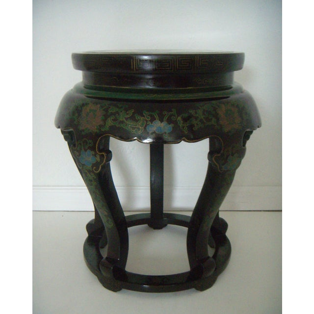 Antique Chinese Cloisonné & Black Lacquer Drum/Side Table - Image 2 of 6