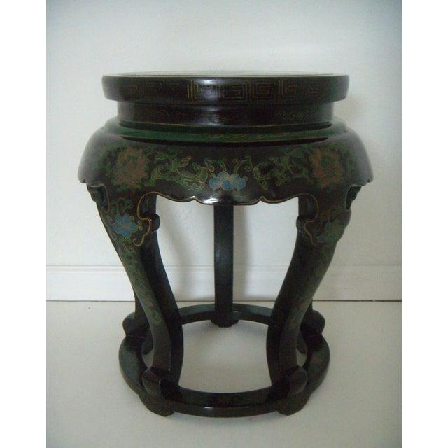 Antique Chinese Cloisonn 233 Amp Black Lacquer Drum Side Table