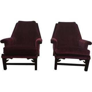 Purple Velvet Club Chairs - 2