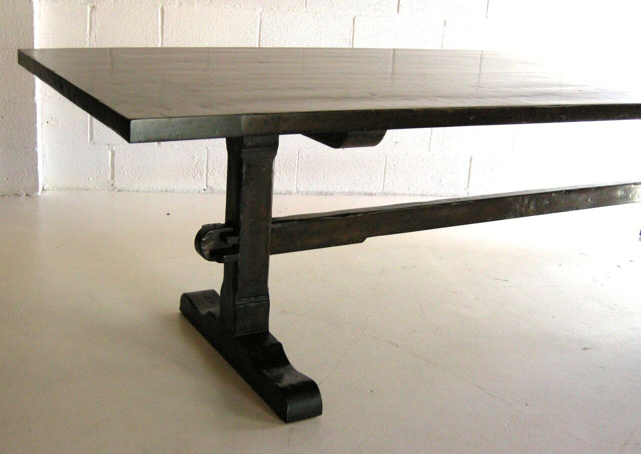 Custom Walnut Wood Classic Trestle Table With Low Profile Trestle Bases    Image 6 Of 6