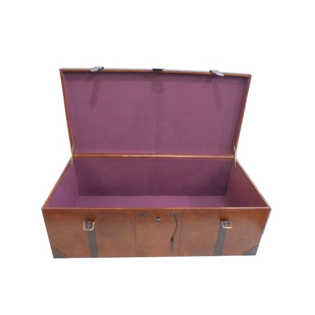 Rectangular Leather Manchester Storage Trunk Chest - Image 3 of 8