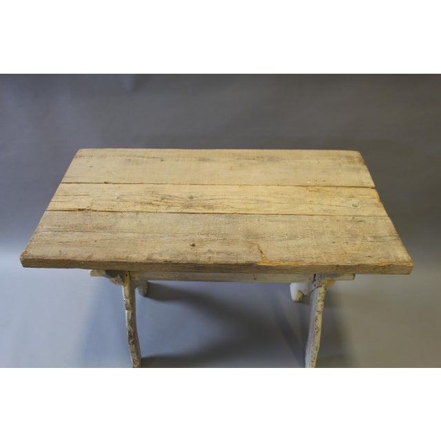 Bleached pine trestle base table chairish for 0co om cca 9 source table