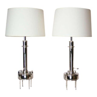 Nickel Plated 1950's Lamps - A Pair