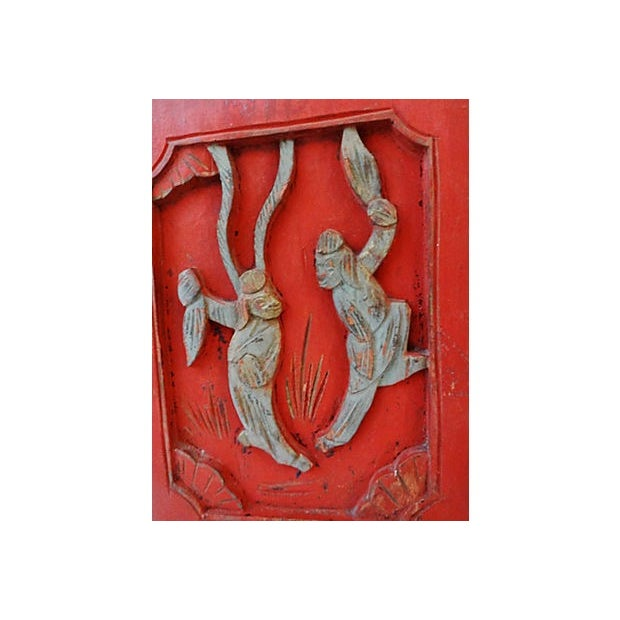 Antique Carved Wood Wall Hangings - A Pair - Image 3 of 6