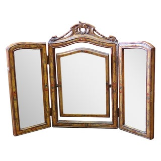 French Style 3 Panel Carved Vanity Mirror