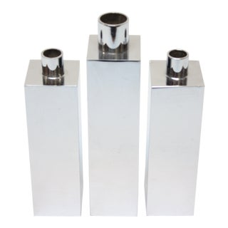Hans-Agne Jakobsson Swedish Chrome-Plated Candle Holders - Set of 3